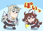 2girls :3 ahoge bkub_(style) black_hair blue_eyes bow braid chibi commentary_request fingerless_gloves gloves hair_bow hair_flaps hair_ornament hair_ribbon hairclip kantai_collection kuroten light_brown_hair long_hair multiple_girls partial_commentary pleated_skirt poptepipic red_eyes remodel_(kantai_collection) ribbon scarf school_uniform serafuku shigure_(kantai_collection) simple_background single_braid skirt translated twitter_username yuudachi_(kantai_collection)
