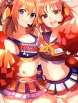 2girls bare_arms bare_shoulders blue_eyes bow breast_press breasts cheerleader cleavage hair_bow headset highres kousaka_honoka looking_at_viewer love_live! love_live!_school_idol_festival love_live!_school_idol_project mashiro_(rikuya) medium_breasts microphone multiple_girls navel necktie one_side_up open_mouth orange_hair red_eyes short_hair small_breasts smile star takami_chika tattoo yellow_bow yellow_neckwear
