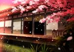 architecture cherry_blossoms east_asian_architecture grass no_humans original outdoors petals pink_sky scenery sliding_doors waraimasuka