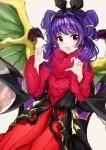 1girl animal_ears blush claw_pose dragon_wings dress fangs fire_emblem fire_emblem:_seima_no_kouseki fire_emblem_heroes fur_trim gao halloween highres long_hair looking_at_viewer myrrh nintendo open_mouth purple_hair rabbit_ears red_eyes satoimo_chika simple_background solo twintails white_background wings