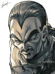1boy artist_name black_eyes black_hair braid chinese_clothes close-up dragon_ball dragon_ball_(classic) expressionless face facial_hair frown greyscale kim_yura_(goddess_mechanic) looking_away male_focus monochrome mustache shaded_face signature simple_background tao_pai_pai upper_body white_background