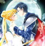 1boy 1girl bishoujo_senshi_sailor_moon black_cape black_hair blonde_hair blue_eyes bow cape closed_eyes double_bun dress earrings endymion from_side full_moon hair_ornament imminent_kiss jewelry lens_flare long_hair moon queen_serenity shirataki_kaiseki short_hair shoulder_armor signature sleeveless sleeveless_dress spaulders strapless strapless_dress twintails upper_body very_long_hair white_bow white_dress