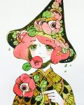 1girl blush eyebrows_visible_through_hair eyes flower flower_on_head green_eyes hat highres holding holding_flower leaf looking_at_viewer maruti_bitamin original pale_skin red_flower redhead short_hair simple_background smile solo tears upper_body white_background witch_hat