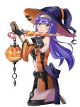 1girl artist_name belt black_gloves blue_hair broom closed_mouth detached_sleeves fire_emblem fire_emblem:_souen_no_kiseki fire_emblem_heroes from_side garter_straps gloves green_eyes halloween_costume hat headband hraaat jack-o'-lantern long_hair looking_to_the_side nintendo simple_background smile solo wayu_(fire_emblem) white_background white_headband witch_hat