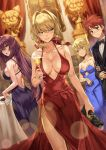 1boy 3girls :o :t ahoge alcohol aqua_eyes arm_at_side artoria_pendragon_(all) back backless_dress backless_outfit bag bare_arms bare_shoulders black_bow black_jacket black_neckwear blonde_hair blue_dress blue_ribbon blurry blurry_background blush bow bowtie breasts brown_eyes cake champagne champagne_flute cleavage closed_mouth collarbone cup depth_of_field dress drinking_glass dutch_angle emiya_shirou evening_gown eyebrows_visible_through_hair fate_(series) feet_out_of_frame fine_art_parody food formal green_eyes hair_between_eyes hair_intakes hair_ribbon handbag highres holding holding_arm holding_bag holding_cup honey_yun indoors jacket large_breasts lens_flare looking_at_viewer looking_to_the_side medium_breasts mona_lisa multiple_girls nekoarc nero_claudius_(fate) nero_claudius_(fate)_(all) open_mouth painting_(object) parody parted_lips pelvic_curtain pink_lips pout purple_dress purple_hair rainmaker red_dress red_eyes red_ribbon redhead ribbon saber scathach_(fate)_(all) scathach_(fate/grand_order) short_hair sideboob sidelocks simple_background sleeveless sleeveless_dress sparkle standing statue strapless strapless_dress suit sweat table thighs v-shaped_eyebrows