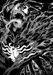 1boy absurdres character_name claws commentary english fangs greyscale highres ishiyumi looking_at_viewer male_focus marvel monochrome sharp_teeth solo spider-man_(series) symbiote teeth tongue tongue_out venom_(marvel)