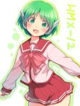 1girl :d blush bow bowtie character_name deyuuku eyebrows_visible_through_hair green_eyes green_hair green_outline long_sleeves looking_at_viewer multi open_mouth pink_neckwear red_sailor_collar red_skirt robot_ears sailor_collar shirt short_hair skirt smile solo to_heart white_background white_shirt