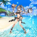 1girl :d aqua_eyes armband armpits beach bikini blue_sky bow breasts choker cleavage clouds dual_wielding frilled_bikini frilled_swimsuit frills hair_between_eyes heterochromia high_heels holding island large_breasts lisa_(valkyrie_connect) looking_at_viewer navel ocean open_mouth palm_tree ponytail sand sandals sky smile splashing summer sun swimsuit tree valkyrie_connect violet_eyes water_gun
