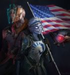 1boy 1girl 1other american_flag armor back-to-back blood ceresy commentary dahang_(gamer) drone english_commentary faceless flag flagpole galena_(quake) gauntlets glowing glowing_eye glowing_eyes grey_background grin headband heads-up_display height_difference highres holographic_monitor huge_weapon mohawk no_pupils nose one-eyed pale_skin peeker_(quake) quake quake_champions rapha_(gamer) rocket_launcher scar smile tabard team_liquid visor visor_(quake) weapon white_hair
