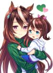 2girls :d animal_ears animal_hood blue_hair blue_shorts blush brown_hair child closed_mouth commentary_request gem green_sweater hair_ribbon heart highres hood hood_down hoodie horse_ears horse_girl horse_hood long_hair long_sleeves looking_at_viewer multicolored_hair multiple_girls open_mouth pink_lips pink_ribbon ponytail ribbon shorts simple_background smile socks streaked_hair sweater symboli_rudolf_(umamusume) tokai_teio tomo_(user_hes4085) turtleneck turtleneck_sweater umamusume upper_body very_long_hair white_background white_hair white_legwear