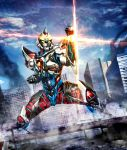 armor blue_sky building city cityscape day debris dutch_angle glowing glowing_eyes gridman_(ssss) highres legs_apart male_focus masukudo_(hamamoto_hikaru) no_humans orange_eyes pose shoulder_armor sky skyscraper ssss.gridman standing