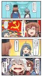 4girls 4koma =_= ahoge aqua_bow aqua_neckwear black_gloves black_hat blonde_hair blush blush_stickers bow bowtie brown_hair comic commentary_request emphasis_lines eyebrows_visible_through_hair facial_scar fingerless_gloves gangut_(kantai_collection) gloves grey_hair hair_between_eyes hair_bun hair_ornament hairclip hammer_and_sickle hat highres ido_(teketeke) iowa_(kantai_collection) kantai_collection kiyoshimo_(kantai_collection) long_hair low_twintails motion_lines multiple_girls no_hat no_headwear o_o open_mouth papakha red_shirt russian scar shaded_face shirt smile speech_bubble tashkent_(kantai_collection) tears translation_request twintails white_hair white_shirt