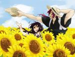 2boys :d black_hair blue_sky flower hat hat_removed headwear_removed japanese_clothes male_focus multiple_boys namazuo_toushirou open_mouth petals ponytail redhead sky smile straw_hat sunflower sunflower_petals tonbokiri_(touken_ranbu) touken_ranbu violet_eyes yamazaki_mitsuko yellow_eyes