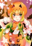 1girl :p bare_shoulders blonde_hair blush bow bowtie center_frills commentary_request cowboy_shot eyebrows_visible_through_hair gloves green_eyes hands_on_hips hat highres jack-o'-lantern jack-o'-lantern_(kemono_friends) jdjkrr kemono_friends long_hair pumpkin skirt sleeveless solo sparkle star tongue tongue_out twintails vest