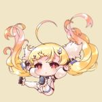 1girl :o azur_lane bare_shoulders black_footwear blonde_hair blurry blurry_background blush breasts brown_background chibi commentary_request depth_of_field detached_sleeves dress eldridge_(azur_lane) facial_mark fur_trim gradient_hair hair_ornament long_hair long_sleeves multicolored_hair orange_hair outstretched_arms parted_lips pikomarie puffy_long_sleeves puffy_sleeves red_eyes shoes simple_background sleeveless sleeveless_dress small_breasts solo spread_arms thigh-highs twintails very_long_hair white_dress white_legwear