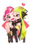 1boy 1girl agent_8 arms_around_neck bangs bike_shorts black_jacket black_pants black_shirt black_shorts brown_eyes carrying closed_mouth commentary cropped_legs frown green_hair hair_grab headgear heart highres inkling jacket long_hair looking_at_another miyashiro nintendo octoling one_eye_closed open_mouth pants princess_carry redhead shirt shoes short_hair shorts smile splatoon splatoon_2 splatoon_2:_octo_expansion squidbeak_splatoon standing sweatdrop twitter_username vest yellow_footwear yellow_vest