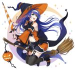 1girl aym_(ash3ash3ash) belt black_gloves black_legwear blue_hair broom broom_riding detached_sleeves fingerless_gloves fire_emblem fire_emblem:_souen_no_kiseki fire_emblem_heroes full_body garter_straps gloves green_eyes halloween_costume hat headband highres jack-o'-lantern long_hair navel navel_cutout nintendo open_mouth solo thigh-highs wayu_(fire_emblem) white_headband witch_hat