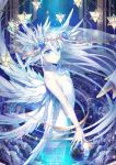 1girl :o bangs bare_shoulders blue_eyes blue_flower bracelet breasts chains clouds collarbone commentary_request crystal dress earth eyebrows eyebrows_visible_through_hair feathered_wings flower from_side giant glowing hair_between_eyes hair_flower hair_ornament head_wings head_wreath jewelry kagachi_saku long_hair looking_at_viewer multiple_wings no_pupils original petals reflective_eyes revision see-through small_breasts solo sparkle star stellated_octahedron strapless strapless_dress veil very_long_hair white_dress wings