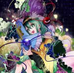 2girls commentary_request flower frilled_sleeves frills green_eyes green_hair hat hidden_eyes highres hug katayama_kei komeiji_koishi komeiji_satori multiple_girls open_mouth petals purple_hair siblings sisters tears third_eye touhou unmoving_pattern