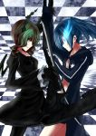 2girls black_bikini_top black_dress black_legwear black_rock_shooter black_rock_shooter_(character) blue_fire blue_hair breasts burning_eye checkered checkered_ceiling checkered_floor clash claws coat commentary_request dead_master demon_horns dress face-to-face fighting fire flower gauntlets gloves green_eyes grin hooded_coat horns jacket multiple_girls nina_(ninageya) open_clothes open_coat pantyhose scythe short_hair_with_long_locks shorts small_breasts smile star sword track_jacket twintails wavy_hair weapon