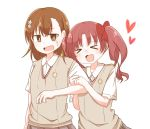 2girls arm_hug brown_eyes brown_hair closed_eyes head_wreath heart highres long_hair misaka_mikoto multiple_girls open_mouth pen_ag school_uniform shirai_kuroko short_hair simple_background smile to_aru_kagaku_no_railgun to_aru_majutsu_no_index tokiwadai_school_uniform twintails upper_body wavy_mouth white_background yuri