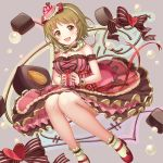 1girl blush breasts brown_eyes brown_hair cake_hair_ornament chocolate cleavage dress food food_themed_hair_ornament hair_ornament heart idol idolmaster idolmaster_cinderella_girls idolmaster_cinderella_girls_starlight_stage knees_together_feet_apart large_breasts looking_at_viewer mimura_kanako moai_(aoh) open_mouth ribbon short_hair smile solo