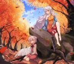 2girls ahoge angel_wings ankles arm_rest arm_support autumn autumn_leaves bangs bare_shoulders barefoot between_legs blue_sky blurry_foreground brooch buna_shimeji_(keymush) closed_mouth collarbone collared_dress commentary_request dappled_sunlight day detached_sleeves dress eyebrows_visible_through_hair feathered_wings forest full_body grey_hair hair_between_eyes hand_between_legs hatchet jacket jewelry kishin_sagume knee_up leaf long_hair long_sleeves looking_at_another looking_down looking_up multicolored multicolored_clothes multicolored_dress multiple_girls nature open_clothes open_jacket outdoors red_eyes sakata_nemuno short_hair sidelocks single_strap single_wing sitting sky smile sunlight toes touhou tree tree_shade very_long_hair white_wings wings