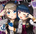 2girls :p ;d anchor_symbol arm_around_waist bad_id bad_pixiv_id badge bangs black_choker black_jacket blue_eyes blue_hair blush bracelet breasts button_badge cellphone choker cleavage collarbone demon_horns earphones emoji eyebrows_visible_through_hair fang grey_hair group_name highres holding holding_phone hood hood_up hooded_jacket horns jacket jewelry long_sleeves looking_at_viewer love_live! love_live!_sunshine!! mkzk_nagi multiple_girls o-ring o-ring_choker one_eye_closed open_mouth paint_splatter phone print_shirt purple_shirt raglan_sleeves salute shared_earphones shirt smartphone smile studded_choker tongue tongue_out tsushima_yoshiko upper_body v-shaped_eyebrows v_over_eye violet_eyes watanabe_you white_shirt