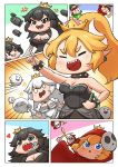 2boys 6+girls :d ^_^ ^o^ bare_shoulders black_dress black_eyes black_hair blonde_hair blue_eyes boo bowsette bracelet breasts brown_eyes brown_hair bullet_bill chain_chomp chains cleavage closed_eyes closed_eyes collar comic commentary_request crown dress eyeliner facial_hair gloves gooster hat highres jewelry long_hair luigi makeup mario mario_(series) multiple_boys multiple_girls mustache new_super_mario_bros._u_deluxe nintendo off-shoulder_dress off_shoulder open_mouth peeking_out ponytail princess_king_boo red_hood sharp_teeth shy_gal silent_comic smile spiked_bracelet spiked_collar spikes super_crown super_mario_bros. teeth white_dress white_gloves white_hair