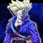 1boy aqua_eyes arms_at_sides artist_name belt black_shirt blonde_hair commentary denim denim_jacket dragon_ball dragonball_z expressionless highres jacket letterboxed looking_away male_focus open_clothes open_jacket outside_border shaded_face shirt short_hair signature spiky_hair standing star starry_background super_saiyan sword tarutobi trunks_(dragon_ball) upper_body weapon