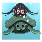 :> air_bubble black_hair blush brown_eyes bubble chibi diving_mask diving_mask_on_eyes k-on! nakano_azusa school_uniform shell swimming ton-chan turtle twintails underwater