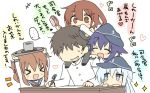1boy 4girls admiral_(kantai_collection) akatsuki_(kantai_collection) black_hat blue_eyes brown_eyes brown_hair carrying chibi closed_eyes commentary_request cup faceless faceless_male flat_cap folded_ponytail hair_brush hat heart hibiki_(kantai_collection) hizuki_yayoi ikazuchi_(kantai_collection) inazuma_(kantai_collection) kantai_collection long_hair military military_uniform multiple_girls naval_uniform purple_hair school_uniform serafuku short_hair shoulder_carry silver_hair sparkle table translation_request tray uniform yunomi