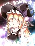1girl bangs black_hat blonde_hair bow braid closed_mouth eyebrows_visible_through_hair eyes_visible_through_hair fingernails gokuu_(acoloredpencil) hair_bow hat hat_bow highres kirisame_marisa long_hair looking_at_viewer orange_eyes purple_bow side_braid smile solo star touhou turtleneck upper_body white_bow witch_hat