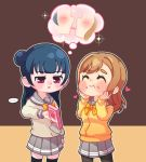 ... 2girls ^_^ bangs black_legwear blue_hair blush bow bowtie box brown_hair closed_eyes closed_eyes commentary_request disappointed dodapan eyebrows_visible_through_hair food food_on_face grey_outline grey_sailor_collar grey_skirt hands_on_own_cheeks hands_on_own_face heart highres holding holding_box imagining korean_commentary kunikida_hanamaru long_hair long_sleeves love_live! love_live!_sunshine!! miniskirt multiple_girls pantyhose pleated_skirt pocky pocky_day pocky_kiss sailor_collar school_uniform serafuku shared_food side_bun skirt sparkle spoken_ellipsis thick_eyebrows thigh-highs tsushima_yoshiko two-tone_background uranohoshi_school_uniform violet_eyes yellow_cardigan yellow_neckwear yuri