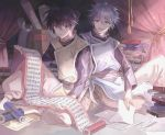2boys bangs barefoot black_hair blue_eyes blue_hair book curtains fugen_shinjin hair_between_eyes holding holding_scroll houshin_engi kuromamechabita male_focus multiple_boys open_mouth paper scroll short_hair sitting sitting_on_ground smile studying taikoubou