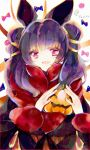 1girl animal_ears bat_ears fake_animal_ears fire_emblem fire_emblem:_seima_no_kouseki fire_emblem_heroes fur_trim halloween_costume highres long_sleeves mamkute multi-tied_hair myrrh nintendo open_mouth purple_hair red_eyes solo twintails twitter_username yuuri_(114916)