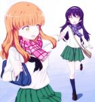 2girls bag bangs black_hair black_legwear black_neckwear blouse blue_eyes blue_scarf blunt_bangs brown_footwear carrying eyebrows_visible_through_hair fringe frown girls_und_panzer green_skirt hairband hand_holding highres leg_up loafers long_hair long_sleeves looking_at_another looking_back miniskirt multiple_girls neckerchief ooarai_school_uniform open_mouth orange_eyes orange_hair pink_scarf plaid plaid_scarf pleated_skirt reizei_mako running satchel scarf school_bag school_uniform serafuku shibagami shoes skirt smile socks standing standing_on_one_leg takebe_saori white_blouse white_hairband yellow_eyes