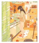 1girl absurdres aorkgk black_cat brown_hair cat commentary facing_away food fruit highres jam kettle kitchen long_hair milk newspaper no_pants original pajamas panties pants pants_removed photo_(object) refrigerator sitting slippers solo steam striped striped_pajamas tea toast toaster underwear yellow_panties