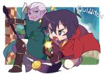 2boys black_hair broom broom_riding golden_snitch grey_eyes harry_potter hyakujuu-ou_golion keith_(voltron) lotor_(voltron) male_focus miyata_(lhr) multiple_boys open_mouth purple_skin quidditch robe smile violet_eyes voltron:_legendary_defender white_hair yellow_sclera