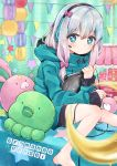 1girl absurdres barefoot black_hairband blue_eyes blue_hair blue_sweater bow commentary_request copyright_name eromanga_sensei hair_bow hairband headphones heart heart-shaped_pupils highres holding holding_stylus indoors izumi_sagiri multicolored_hair pink_bow pink_hair rainys_bill sitting solo star sweater symbol-shaped_pupils two-tone_hair