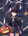 1boy 2017 bat black_hair blue_eyes bow bowtie cape credence_barebone fantastic_beasts_and_where_to_find_them halloween halloween_costume happy_halloween hat male_focus pumpkin solo star wand witch_hat
