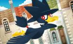 0313 bird bird_focus blue_sky clouds cloudy_sky creature day door flying full_body gen_2_pokemon house looking_at_viewer murkrow no_humans official_art outdoors pokemon pokemon_(creature) pokemon_trading_card_game red_eyes sky solo window