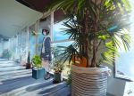 1girl artist_name beanie black_hair cactus hat indoors original plant potted_plant sakeharasu scenery short_hair signature solo standing suitcase tree window