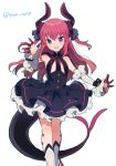 1girl asymmetrical_horns claws curled_horns dragon_girl dragon_tail dress elizabeth_bathory_(fate) elizabeth_bathory_(fate)_(all) fate/extra fate/extra_ccc fate_(series) highres horns ikeuchi_tanuma looking_at_viewer pink_hair tail waving