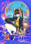 1girl 2018 animal_ears bird black_choker black_footwear black_jacket blue_sky bone branch brown_eyes brown_hair cat_ears chihuahua chinese_zodiac choker clothes_writing commentary_request daruma_doll eagle eggplant flower full_body head_tilt highres jacket jewelry long_hair long_sleeves looking_at_viewer mountain nail_polish nengajou new_year open_clothes open_jacket original oversized_object paint paintbrush pantyhose patch paw_print pendant pink_flower rainys_bill shirt shoes signature sitting sky sneakers solo star_(sky) starry_sky translation_request white_legwear year_of_the_dog yellow_shirt