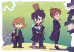 1girl 2boys black_hair broom brown_hair clenched_teeth dark_skin dark_skinned_male glasses harry_potter hogwarts_school_uniform keith_(voltron) kosmo lance_(voltron) lantern miyata_(lhr) multiple_boys necktie open_mouth pidge_gunderson robe school_uniform sharp_teeth teeth voltron:_legendary_defender wolf