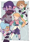 4girls :d :o absurdres blonde_hair blue_eyes bodysuit braid brown_eyes brown_hair dark_skin earrings facial_mark glasses hair_bun highres jewelry knife krolia miyata_(lhr) multicolored_hair multiple_girls open_mouth pants pidge_gunderson pink_eyes pink_hair pointy_ears princess_allura purple_hair purple_skin romelle smile twintails two-tone_hair violet_eyes voltron:_legendary_defender white_hair yellow_sclera