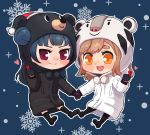 >:) 2018_winter_olympics :d bandabi bangs bear_hood black_coat black_footwear black_gloves black_legwear blue_hair blush brown_hair chibi commentary dodapan eyebrows_visible_through_hair full_body gloves hat hood hood_up kunikida_hanamaru long_hair long_sleeves looking_at_viewer love_live! love_live!_sunshine!! olympics open_mouth outline pom_pom_(clothes) red_hat round_teeth santa_hat shoes side_bun smile snowflakes snowing socks soohorang sparkle teeth thick_eyebrows tiger_hood tsushima_yoshiko upper_teeth violet_eyes white_coat white_outline yellow_eyes