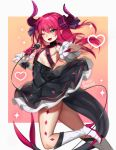 1girl ;d artist_name blue_eyes blue_ribbon boots breasts dress elizabeth_bathory_(fate) elizabeth_bathory_(fate)_(all) eyebrows_visible_through_hair eyes_visible_through_hair fang fate/grand_order fate_(series) gradient gradient_background hair_ribbon heart high_heel_boots high_heels holding holding_microphone horns knee_boots long_hair looking_at_viewer microphone one_eye_closed open_mouth outstretched_arm pink_hair pointy_ears ribbon simple_background small_breasts smile solo sparkle tail teru_(renkyu) twitter_username v-shaped_eyebrows wrist_cuffs