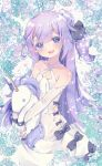 1girl :d ahoge azur_lane blurry commentary_request depth_of_field detached_sleeves doll_hug dress floral_background flower hair_bun highres long_hair looking_at_viewer one_side_up open_mouth pikomarie purple_hair rose smile solo stuffed_unicorn unicorn_(azur_lane) violet_eyes white_dress